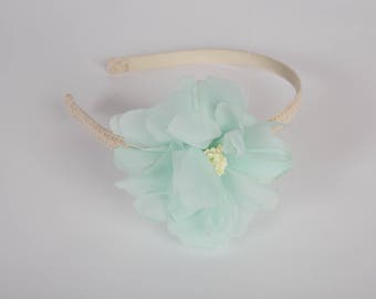 Pastel Mint Green Girl Toddler Baby Floral Headband