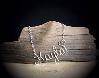 Name Necklace- Custom Name Necklace- Wire Word Necklace- Bridesmaid gifts- Personalized name jewelry