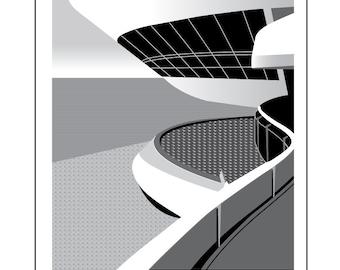 Rio de Janeiro Black and White contemporary architecture art print, Oscar Niemeyer Niteroi Contemporary Art Museum, Rio, Brazil A3, 11 x 14