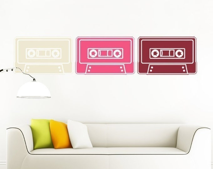 cassette tape wall decal set, mixed tape vinyl wall stickers, retro cassette art, FREE SHIPPING