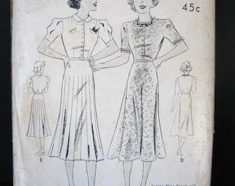 30s 40s Vintage Dress Pattern Butterick 7385 Unused Pattern, Bias Cut Swing Skirt, Neckline & Sleeve Options, WWII Era Day Wear, Bust 35