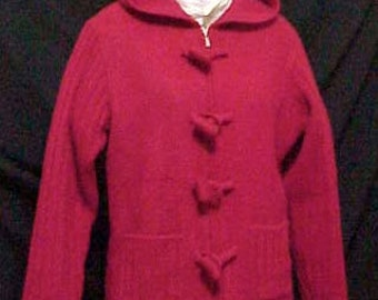 Red Boiled Wool Hooded Jacket/Sweater  Special Frog Closures  Felted Red Wool