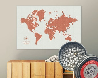 Vintage Push Pin Map (Terra) Push Pin World Map Pin Board World Travel Map on Canvas Push Pin Travel Map Personalized Gift for Family