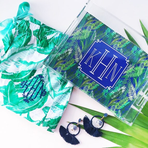 palm print tray, monogrammed tray, acrylic tray, banana leaf print, chinoiserie acrylic tray, lucite catchall, bridesmaid gift idea