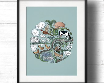 Born to Roam - A3 Giclée Print - Free Range / Vegan Farm Animals, Contemporary Country Cottage Kitchen Style Picture