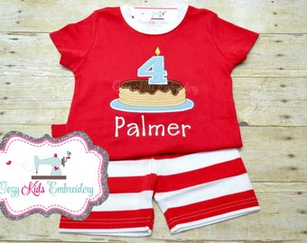 Pancake Pajamas, Birthday Pajamas, Boys Pancake Pajamas, Girl Pajama, Boy Pajama Custom pajama, Pancake, embroidery, applique