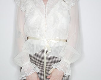 vtg 70s romantic sheer ruffly long sleeve top NWT