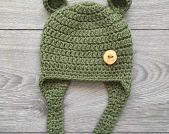 Ready to Ship - Crochet Baby Bear Hat with earflaps - Newborn Size