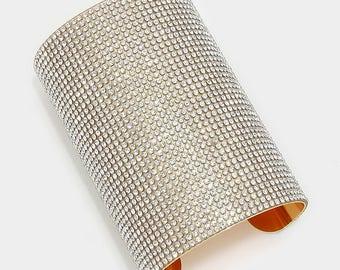 Gold Wide Rhinestone Crystal Cuff Bracelet