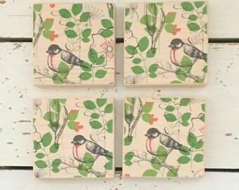 Bird Pattern Wooden Coasters, Wood coaster, Bird Lovers, Coaster Bird, Coasters Country, Coaster Set, Wood Coasters, Bird Wooden Coaster Set