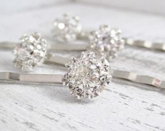 Silver Floral Rhinestone Hairpins, Crystal Hairpins, Bridal Hairpins, Wedding Hair Accessories, Bridal Hair Jewelry, Rhinestone Clips