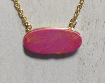 Pink turquoise pendant on gold plate chain