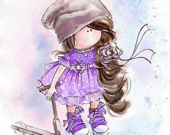 Little brown-haired girl in lavender dress Watercolor print Watercolor painting Poster Giclee Purple print  Baby nursery print Kids room