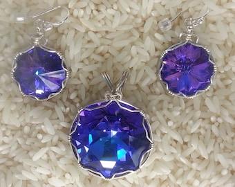 Swarovski rivoli shaped wire wrapped pendant and earrings.