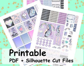 HoloGlam Unicorn, Printable Planner Stickers, Weekly Kit, Weekly Planner Stickers, Printable Weekly Sticker Kit