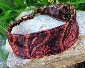 Red Damask Headband, Reversible Ladies Headband, Paisley Headband