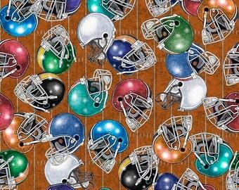 Quilting Treasures Gridiron Football Helmets Brown fabric - 1 yard