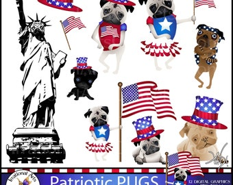 INSTANT DOWNLOAD Patriotic PUGs set 1 with 12 digital clipart graphics png files Statue of Pugerty