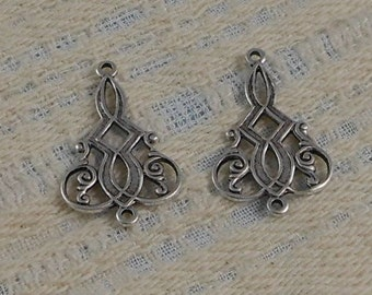 LuxeOrnaments Antiqued Sterling Silver Plated Brass Filigree 2 Ring Pendant (2 pcs) 24x16mm G-5918-S