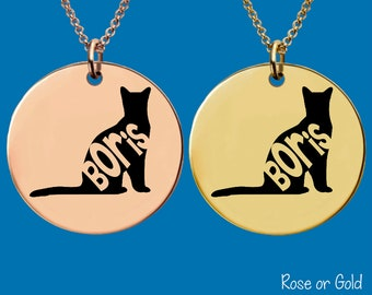 Gold or Rose Gold Necklace | Russian Blue Cat | Cat Necklace | Cat Jewelry | Cat Memory | Personalized Cat Necklace | Apla Agapa
