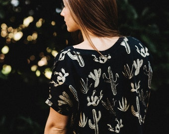Golden Cactus Cropped T-Shirt,  cactus printed crop top, made in the USA by Simka Sol