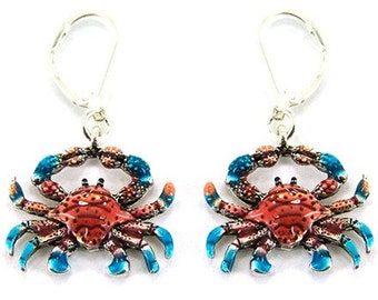 Red and Blue Crab Pierced Earrings