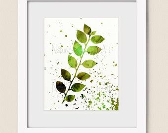 Watercolor Wall Art, Paint Spattered Nature Art Print, Green and Brown Bedroom Wall Decor, Living Room Wall Art Print (470)