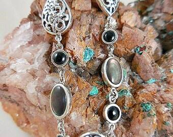 Labradorite Black Onyx Sterling Link Bracelet