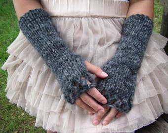 Wool Fingerless Gloves Gray Arm Warmers Long Knitted Mittens Womens Wrist Warmers Winter Warm Gloves Chunky Hand Mittens Womens Gift SALE