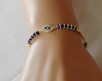 Evil Eye, Evil Eye Bracelet, Blue evil eye , Crystal Evil Eye, Gift for her, Good Luck Bracelet