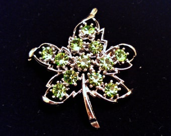 Vintage Brooch, Maple Leaf with Faux Peridot, Light Green Rhinestones, Silver Tone, Mid Century, Circa 1960s, Includes Gift Box