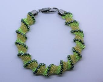 Spiral bracelet, Green and yellow bangle, Seed bead bracelet, Cellini beaded bracelet, Gift for her