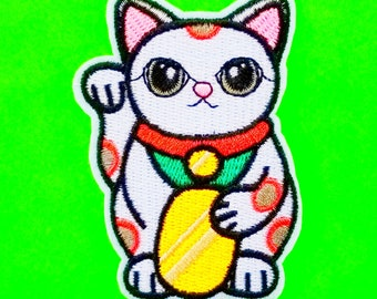 Lucky Cat Maneki Neko Good Fortune Charm Idol Talisman White and Multicoloured Fully Embroidered Iron or Sew On Patch