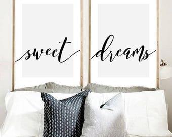 Sweet Dreams Print, Set Of 2 Prints, Calligraphy Print, Bedroom Wall Art,
