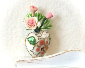 Cloisonne Heart Vase with Delicate Pink Handmade Roses in a Cottage Chic 1:12 Scale Boudoir Miniature Dollhouse Arrangement