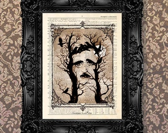 "Dictionary Art Print - ""Vintage Edgar Allan Poe - Trees Face"" Up cycled dictionary page print, Nevermore,The Raven, Goth art, Macabre art"