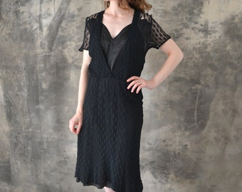 1940s Black Lace Dress