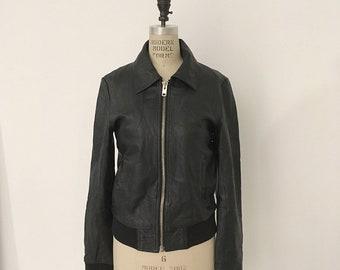 80s Vintage Tailored Leather slim Jacket