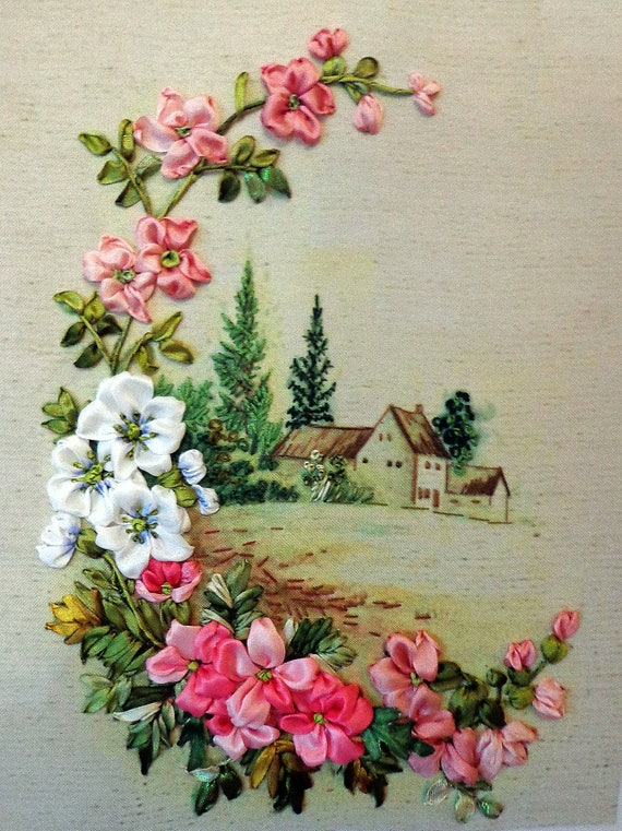 Embroidered Picture Landscape Silk Ribbon Embroidery Flowers
