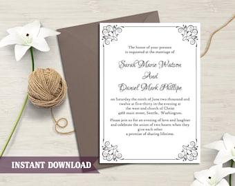 Wedding Invitation Template Download Printable Wedding Invitation Editable Invitation Black Invitation Elegant Floral Wedding Card DIY- DG05