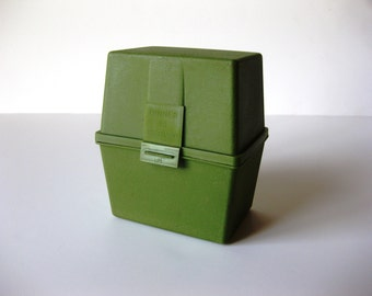 SALE - Vintage 1970s Avocado Green Recipe Box, Recipes Included! Rare, Hard-to-find Dinner Is Served Recipe Box
