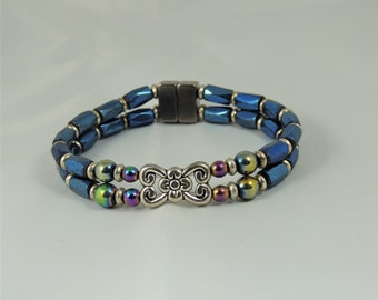 Double blue and silver medallion bracelet