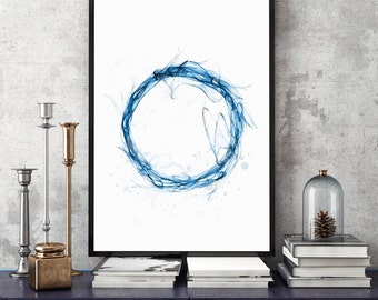 Marvelous Indigo Blue Print Indigo Art Print Indigo Blue 11x14 Art Print Etsy Wall Art  Blue Circle