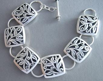 Gorgeous Silver Bracelet Sterling Bracelet, Chunky Bracelet made in USA