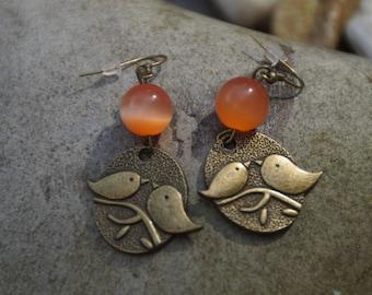 Bronze bird and Pearl Earrings orange