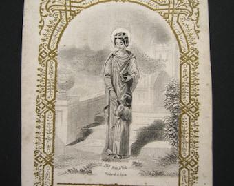 Saint Amalberga of Maubeuge antique french Holy religious prayer card -  Religious ephemera -