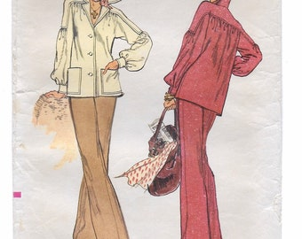 "A Long Sleeve, Front Button Shirt-Jacket and Straight Leg Pants Sewing Pattern for Women: Size 8, Bust 31-1/2"" • Vogue 8937"