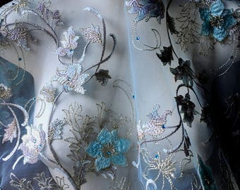 """Aqua """"Alice"""" 3D Lace Fabric with Rhinestones for Bridal, GRAD, Lyrical Dance, Ballet, Couture Gowns, Costume Design"""