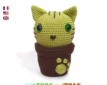 Minty Kitty Cactus - Cat Flower - Amigurumi Crochet Pattern PDF