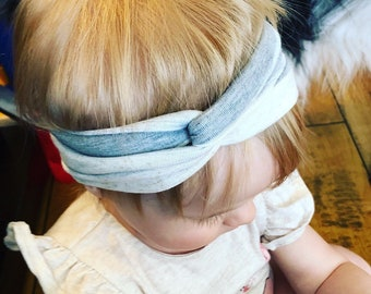 Grey Stripe Knot Headband